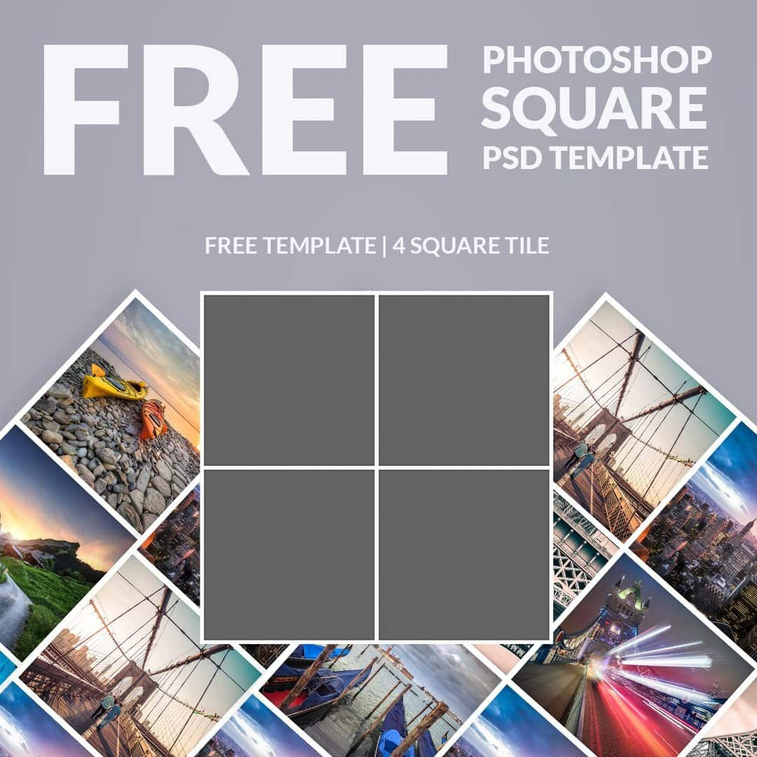Free photoshop template photo collage square download now for Free collage templates