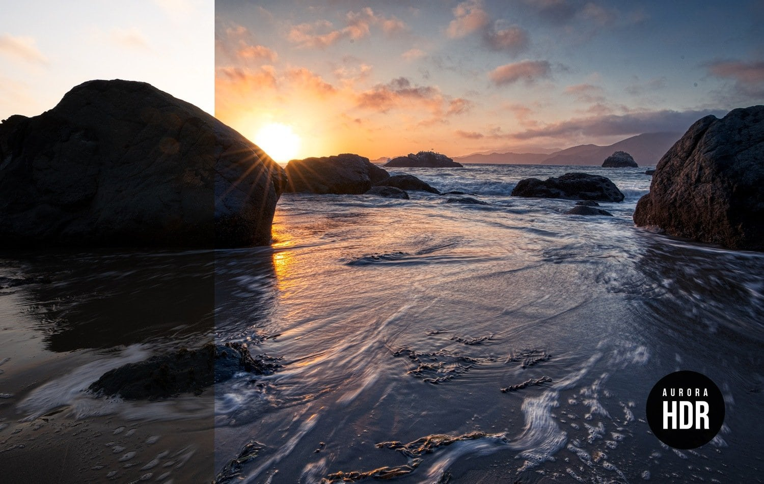 Free Aurora HDR Look Seascape Preset Before After Presetpro.com